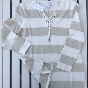 Striped Lace-Up Sweater, Size: P/S